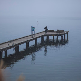 Alone. by Alvin Chen - Novices Only Landscapes ( calm, bellevue, person, fishing, early morning, dock, water )