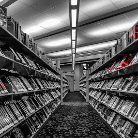Library Books by Chris Montcalmo - Artistic Objects Still Life ( colorsplash, books, library, diminishing perspective, bookshelves, library books )