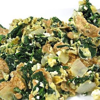 Skinny Matzo Brei With Fresh Spinach, Garlic and Onions