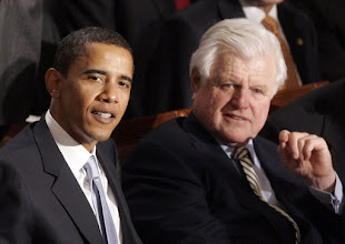 Photo: ** FILE ** In this Jan. 23, 2007, file photo, Sen. Barack Obama, D-Ill., left, and Sen. Edward Kennedy, D-Mass. watch President Bush's State of the Union address on Capitol Hill in Washington. Kennedy will endorse Obama for president, party officials confirmed on Sunday, Jan. 27, 2008. (AP Photo/Charles Dharapak, File) ORG XMIT: NY122
