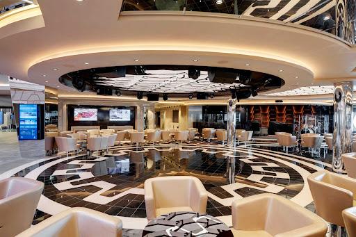 The dance floor of the Grandiosa Bar & Lounge aboard MSC Grandiosa.