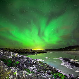 The lava and the lagoon by Hafsteinn Kröyer Eiðsson - Landscapes Waterscapes ( reflection, night lights, waterscape, aurora borealis, moss, reflections, nightview, photography, night shots, lights, sky, night photography, nighttime, photographer, grey, night sky, rocks, nightlife, purple, night scene, colors, green, art, northern lights, aurora, white, starscapes, star, night time, sky art, waterscapes, hot spring, nightscape, northern, iceland, night view, lava, blue, stars, artistic, sulfur, night, landscapes, night shot, nightscapes, reflect,  )