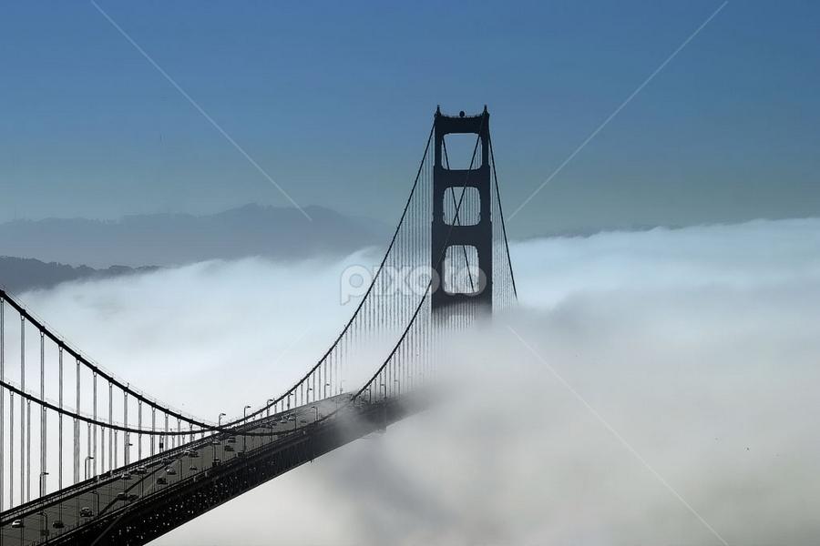 Foggy Golden Gate Bridge by Chuck Kuhn - Buildings & Architecture Bridges & Suspended Structures ( gg, golden gate, bridge, san francisco )