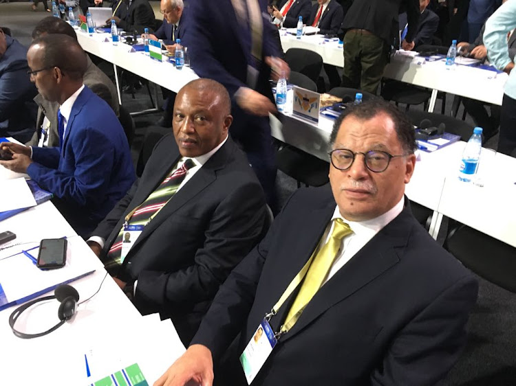 SA Football Association (Safa) President Danny Jordaan (R) sits alongside his perceived foe and Premier Soccer League (PSL) chairman Irvin Khoza at the FIFA Congress to vote on the 2026 World Cup bid on Wednesday June 13 2018.