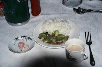 Photo: 03374 ウランバートル近郊/観光客用キャンプ地/食事/キュウリのカレー煮飯
