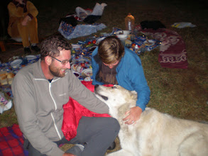 Photo: Mick, Suzanne and Caucasian puppy at the Georgian party in Kazbegi. He was huge, and hadn't finished growing. A total softie.