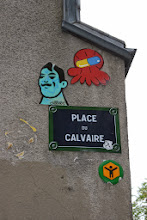 Photo: Street art - Gz'Up (en haut)- Mister P -Paris XVIIIe - place du calvaire - Montmartre