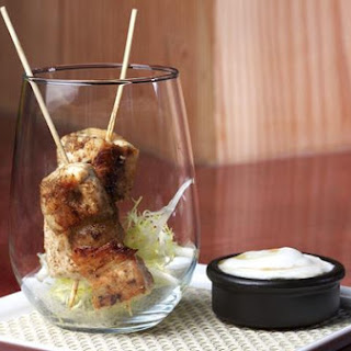 Skewers Of Cumin Chicken With Yoghurt Lemon Honey Dipping Sauce