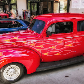 Classic Red Automobile by Dave Walters - Transportation Automobiles ( lumix fz2500  carscolors transportation red, lumix fz2500  cars, lumix fz2500  carscolors transportation, lumix fz2500, lumix fz2500  carscolors )