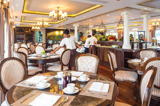 Dine on classic Southeast Asian and Western cuisine at Le Marché aboard the Uniworld river ship Mekong Navigator.