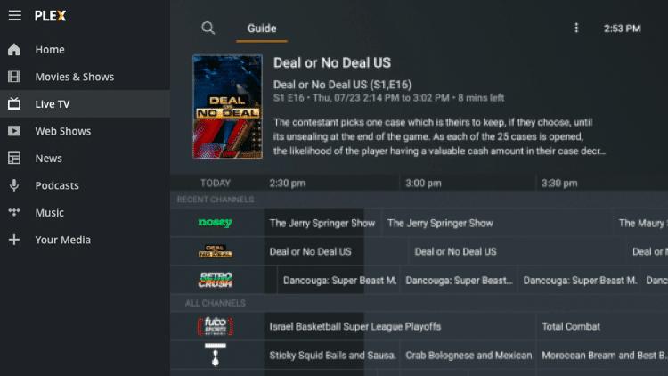PLEX Dashboard - Best Free IPTV Apps for Live TV Streaming