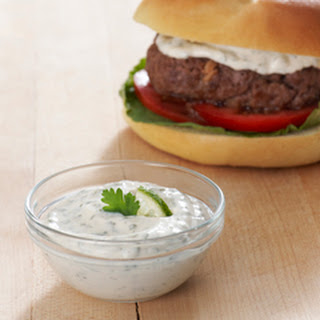 Best Ever Juicy Burger with Cilantro Lime Sauce.