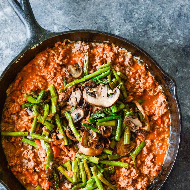 Farro with Beef Mushroom Asparagus and Spinach