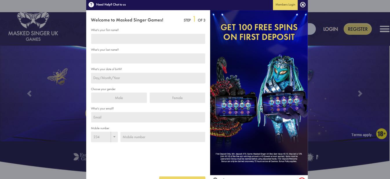 Registration Process on Masked Singer Casino