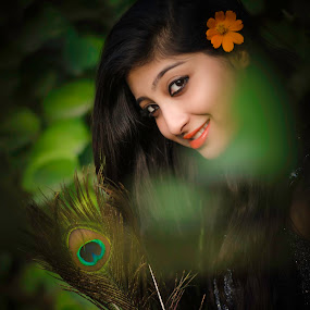 Girl** by Anuruddha Das - People Portraits of Women ( girl, nature, cute, feather, peacock,  )