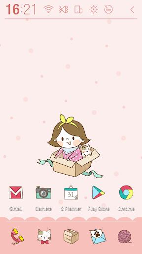 Girl n cat Pink Atom Theme