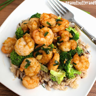 Spicy Garlic Shrimp with Broccoli and Rice.