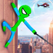Flying Stickman Rope Hero Grand City Crime