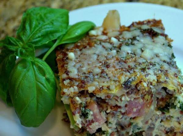 Quinoa Crustless Ham And Kale Quiche Recipe