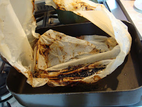 Photo: The outer wrapping had some blackening from juices that had leaked out.