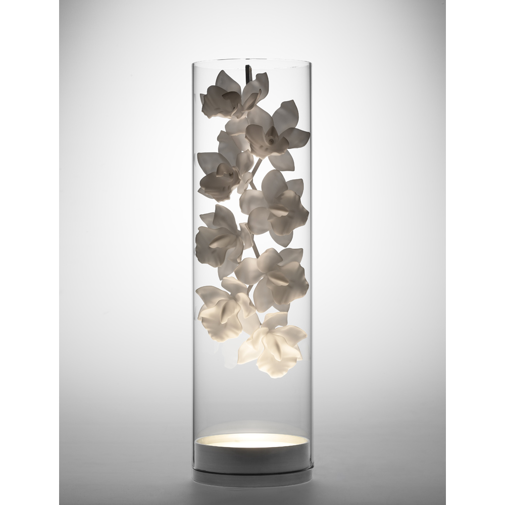 CYMBIDIUM VESSEL GLASS TABLE LIGHT   DESIGNER REPRODUCTION