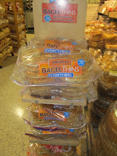 Photo: This is QUITE interesting.  I had never seen this product--Thomas' Bagel Thins.  They caught my eye because they had their own display AND the display says they are only 110 calories.  I had planned to buy regular bagels.  But, these may be the ticket.