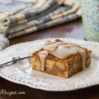 Pumpkin Bread Pudding with Maple Glaze