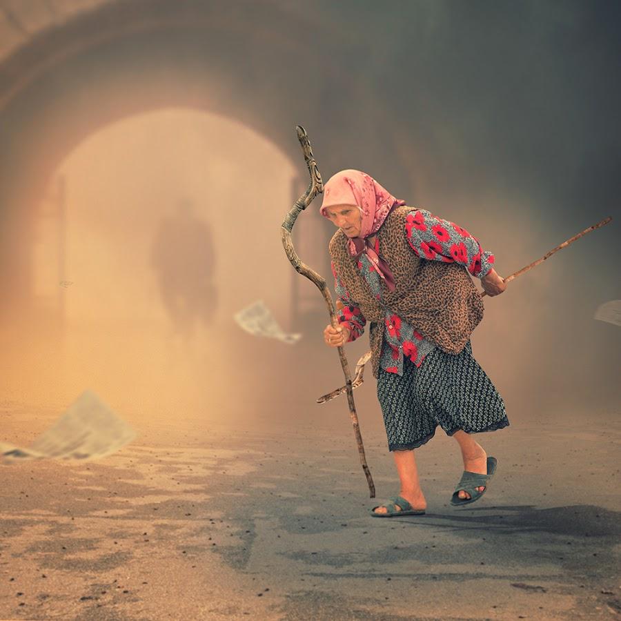 Over crossing by Caras Ionut - Digital Art Things ( tutorials, old, freedom, dream, ground, manipulation, field, fence, flying, psd, sky, cloth, woman, high, rocks, rainbow, light, flower, photoshop )
