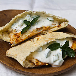 Grilled Barramundi Pita Sandwich with Cucumber Yogurt Sauce