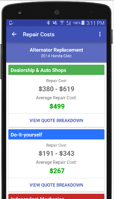 Auto repair estimate car quote android apps on google play auto repair estimate car quote screenshot solutioingenieria Image collections