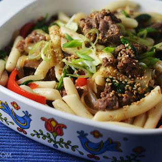 Beef Ddukboki (Non-Spicy Sautéed Korean Rice Cakes).