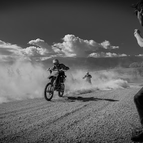 Mad Max by Carlos Kiroga - Black & White Sports ( clouds, battle, life, motocross, black and white, dust, sports, summer, motorcycle, gravel, fan, race )