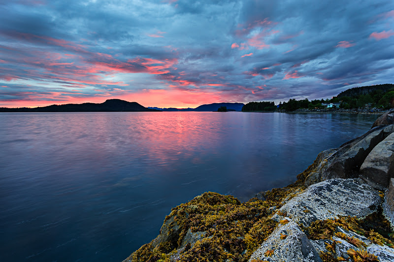 Photo: Midnight Sun  This is the view from water's edge near my families home in Sitka, AK. In the month of July, is still gets dark because the city is only at about 57 degrees latitude... but it does not get dark for very long :)  This evening I was out shooting with +Colby Brownand +Casey McCallister. I love the way the light dances around in the sky at these northern latitudes .. it really reminded me of Iceland :)  ~joe #azure #alaska