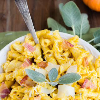 Pumpkin Pasta and Bacon in a Cream Sage Sauce.