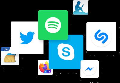 许多应用图标,包括 Twitter 和 Spotify。