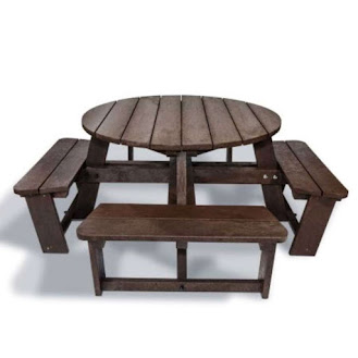 Round Plastic Picnic Bench brown