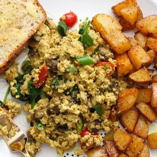 Mushroom Tofu Scramble With Roasted Paprika Potatoes [Vegan].