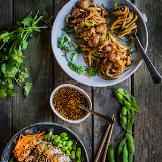 Stir-fried udon and Teriyaki crispy chicken rice bowl