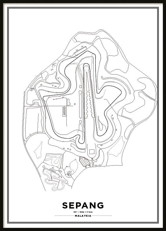 Poster, Sepang International Circuit Formula 1 Print Vit