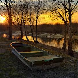 Boat on the river Drava  by Dunja Milosic Odobasic - Transportation Boats (  )
