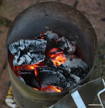 Photo: The hardwood lump charcoal getting ready