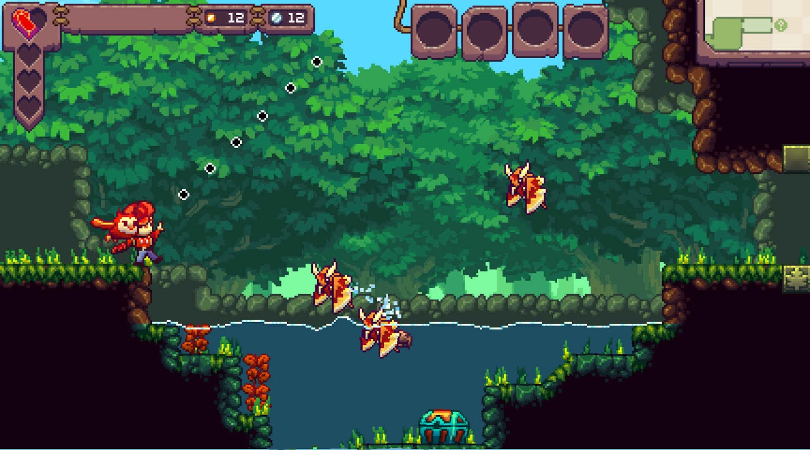 The character aiming to throw his owl against an enemy with the forest as background.