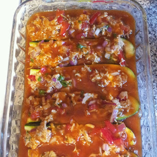 Low Carb Chicken Enchilida Stuffed Zucchini