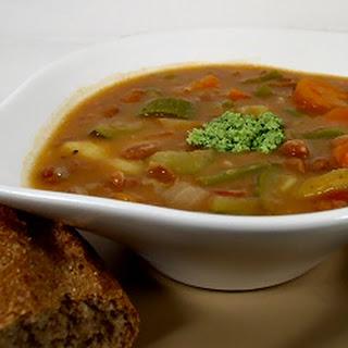 Provençal Soupe au Pistou (Bean and Vegetable Soup with Pinenut Pesto).