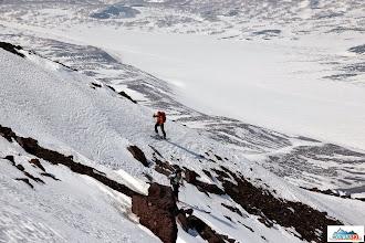 Photo: Katka followed by Mirka on icy and rocky slope