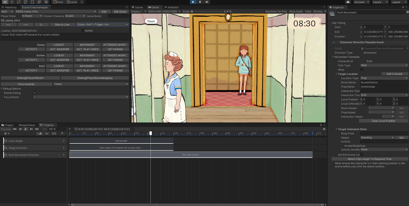 """A screenshot displaying the Unity editor, with the Timeline window at the bottom, open as previously described, plus a 'Scene Timeline Helper' window on the left, which allows the user to skip forwards or backwards in the scene, and has many buttons to quickly add clips to the Timeline. On the right is a Property Inspector which is inspecting the currently selected clip, a """"Character Direction"""" clip, which is set up to move the character Ruth to the Nurse's Station. In the Game view in the middle, we can see a character - Ruth - partway through a movement."""