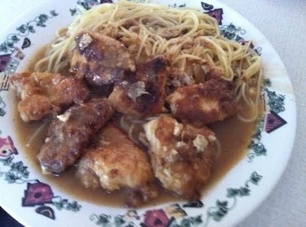 Chicken Francese With Spaghetti