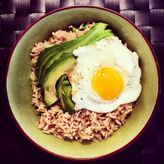 Brown Rice Bowl with Avocado & Fried Egg.