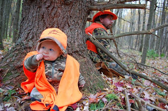 Photo: Wes goes hunting with Dad and Mom. He is on lookout for deer here at 6 months of age.