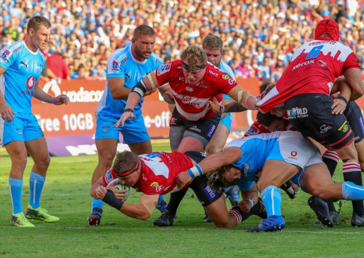 Ruan Dreyer of the Emirates Lions scores during the Super Rugby match between Vodacom Bulls and Emirates Lions at Loftus Versfeld on March 03, 2018 in Pretoria.